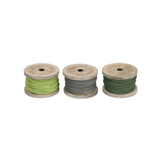 Leather rope 10m on wooden spool 3pc mix