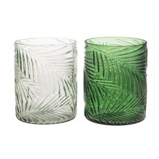 Candle holder with leaf pattern glass 10x10x13cm 1pc mix box A/2